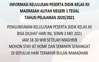INFORMASI KELULUSAN PESERTA DIDIK KELAS XII MAN 1 TEGAL TAHUN PELAJARAN 2020/2021