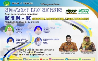 Menjuarai KSN Tingkat Kabupaten, 4 Siswa MAN 1 Tegal Siap Berkompetisi Di KSN Tingkat Provinsi