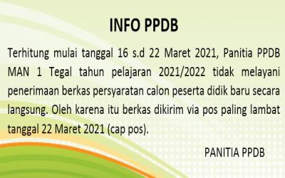 INFORMASI PENGIRIMAN BERKAS PERSYARATAN PPDB TAHUN PELAJARAN 2021/2022